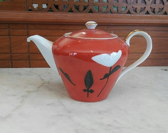 Red White Black and Gold Floral Seyei Teapot Made in Japan