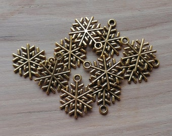 10 x Zinc Alloy Gold Snowflake Charms for Jewellery Making