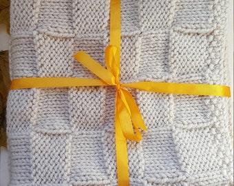 Pram Blanket, Designed, Hand knitted, Beige Baby Wool, Basket weave pattern, Gift, Baby shower, Newborn, Mosses blanket, Knee Blanket, Warm.