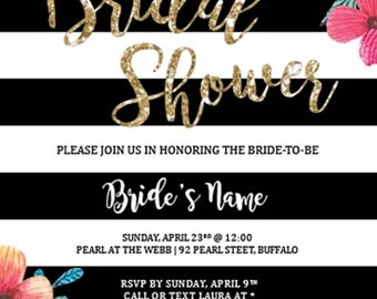 Floral Bridal Shower Invitation Digital File, Printable