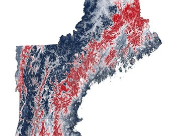 New England Topographic Map in Red and Blue