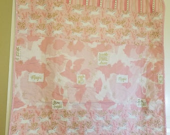Baby quilts handmade baby blanket girl strip quilt michael miller unicorn pink gold crib bedding