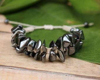 No. 48 Hematite Hemp Macrame Bracelet
