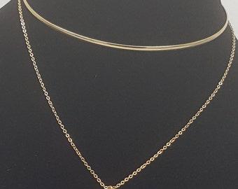 Gold Brass CZ pendant & Choker
