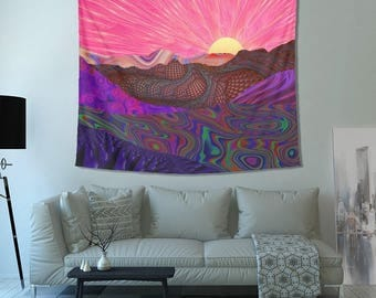 Trippy Trek Tapestry- Colorful Landscape Art- Psychedelic Design- Trail into Horizon Wall Art- Colorful Design- Tapestries- Sweet Graphics