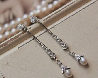 Set of 3, 4, 5, 6 Bridesmaid Earrings,Art Deco Earrings ,Bridal Earrings,Vintage Style Pearl Earrings, Wedding Earrings, Wedding Jewelry, UK