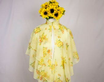Vintage 1970's Sheer Yellow Floral Capelet