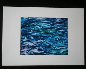 Small fish in a big sea. Original encaustic wax art greetings card