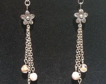 Pink Flower Drop Earrings