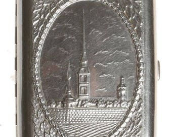 Vintage Cigarette case Silver Card holder  Vintage Soviet Cigarette Case Metal wallet USSR Cigarette Box  Leningrad 80s