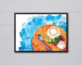 Original collage art painting , fine arts, wall art print, wall art decor, visual arts, bed room and kitchen decor.