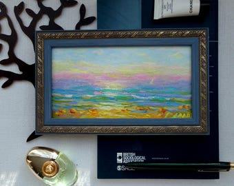 Original seascape oil painting framed ready to hang artwork 5x9 ocean sunset fine art wall home marine decor open shelf decor