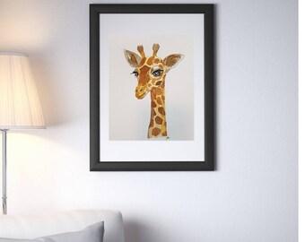 LOVELY GIRAFFE Art Print (200gsm, watercolor paper)