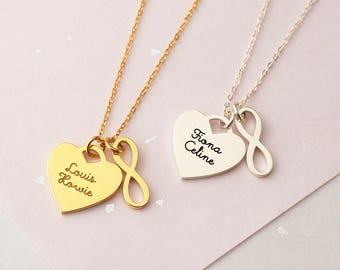 Heart Name Necklace - Infinity Heart Necklace - Infinity Charm Necklace - Custom Name Necklace - Mother Necklace