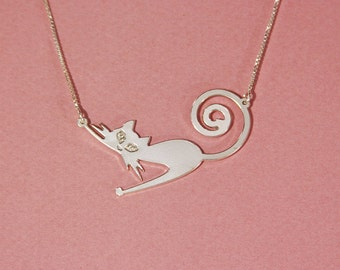 Cat necklace sterling silver cat necklace kitty necklace kitten necklace cat lover necklace silver necklace for cat lover gift