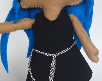 Punk blue and black two toned hair handmade felt doll ombre