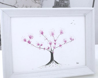 Japanese Blossom Tree Painting: purple japanese watercolour blossom, original framed painting gift, purple painting, can be personalised!