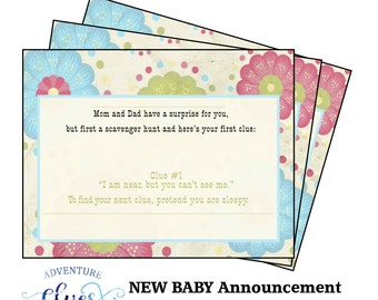 New Baby Announccement for Siblings, Treasure Hunt with Printable Clues