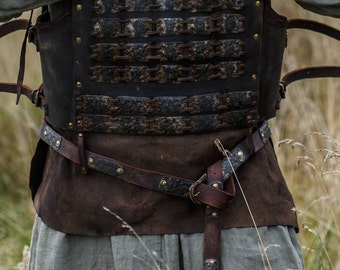 Medieval Leather Belt with Metal Plates; medieval belt; viking belt; armor belt; medieval armor