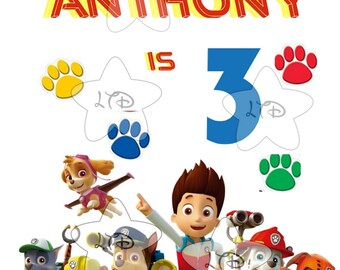 All Paws On Deck Paw Patrol  Birthday Iron On Transfer