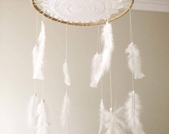 Baby mobile, feather mobile, baby, vintage mobile, Boho baby