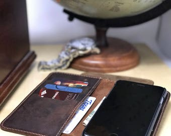 Leather iPhone Case, Wallet, Leather Wallet Folio, Leather Case, Phone Wallet, iPhone X, Personalized, Custom monogram