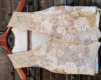 Antique lace covered vest.  Hand stitched