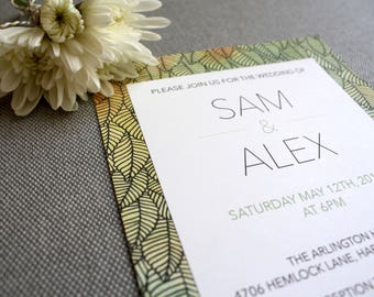 Printable Wedding Invitation and RSVP Template - Green Leaves