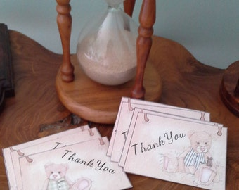 Thank you cards, mini thank you cards. Vintage bear design 12pk,  6 of each design. Blank on back.