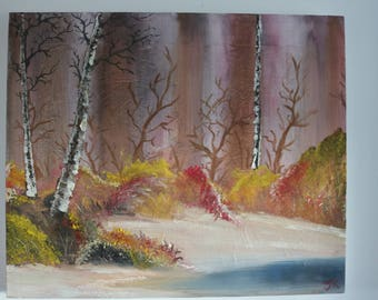 Birch Lake Oil Painting
