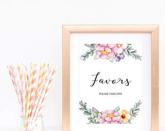 Summer Baby Shower Favors Sign Printable Watercolor Flowers Pink Floral Wreath Baby Shower Signs Table Favor Signage Instant Download FU1