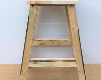 Chunky Rustic Reclaimed Wood Stool