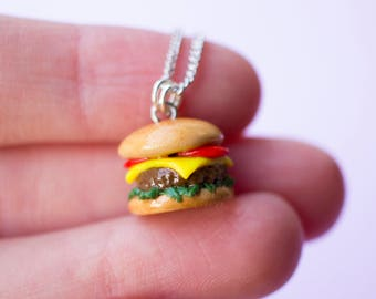 Cheeseburger Necklace, Polymer Clay Jewelry, Foodie Gifts, Fast Food Jewelry, Miniature Food, Food Jewelry, Hamburger Earrings, Polymer Clay
