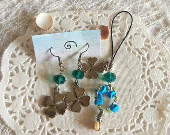 Luck clover Earring irish green gift Patrick's day set Green blue Tree wire wrap turquoise Keychain shamrock bag charm Clover fairytale gift