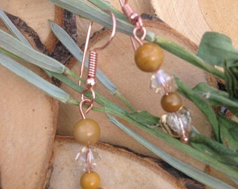 mookaite earrings with swarovski bicones and hearts with bare copper shepheard hooks