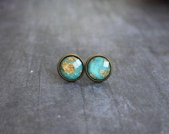 Gorgeous Turquoise Gold Flake Earrings, Bronze Stud Earrings, 12mm, Matching Ring
