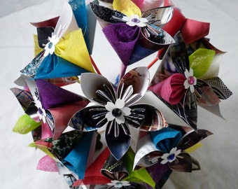 Origami paper flower bouquet