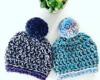 Chunky Pompom Beanie / Chunky Crochet Beanie