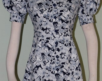 "Small,Navy and white micro mini dress, vintage 1970's, 28"" waist"