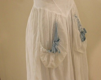"""white striped cotton gown with blue bows, vintage 1930's, 25"""" waist"""