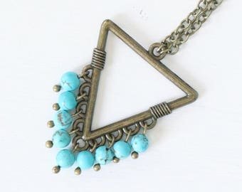 Turquoise Beaded Open Brass Triangle Necklace