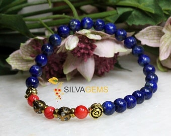 Natural Blue Lapis Lazuli and Red Mother of Pearl Gemstone Stretch Beaded Handmade Bracelet. Free Delivery. Blue Bracelet.
