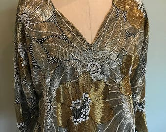 70s Halston beaded top
