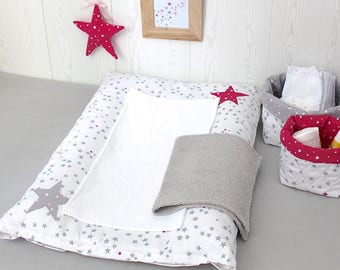 Changing pad cover, white with little grey and fuchsia stars