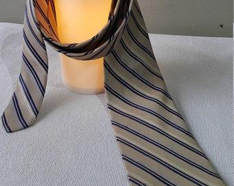 Handmade J. Press Tie Prestige Woven Heavy Silk Stripe Pattern Brown Vintage Designer Dress Necktie 100%Silk