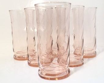 Pink Drinking Glasses, Set of 6 Pink Glass Tumblers, Spiral Pink Iced Tea Glasses