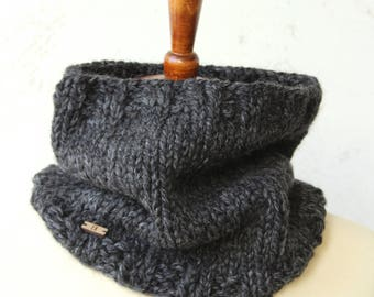 knit cowl wool blend charcoal gray cowl unisex cowl charcoal scarf hand knit scarf black owned business wool scarf knit gray scarf knit