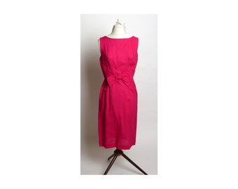 Circa 1950s Bullock's Wilshire Hot Pink Bow Wiggle Dress