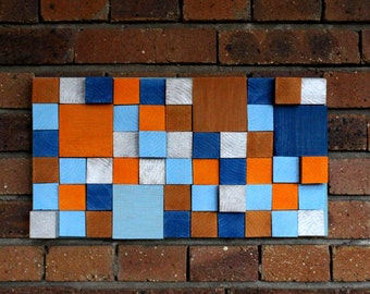 Deco Panel * painted wooden cubes * wooden cubism