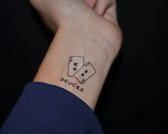 deuces temporary tattoo / cards temporary tattoo / game temporary tattoo / creative temporary tattoo